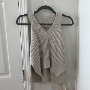 AllSaints Taupe Knit Tank Top